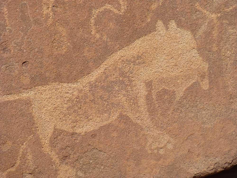 Einmalige Felsmalereien, Twyfelfontain in Namibia.